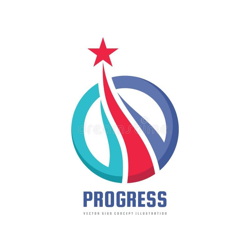 Fortschritt - abstraktes Vektorlogo Gestaltungselemente mit Sternzeichen Entwicklungssymbol Erfolgsikone Wachstums- und Startkonz stock abbildung