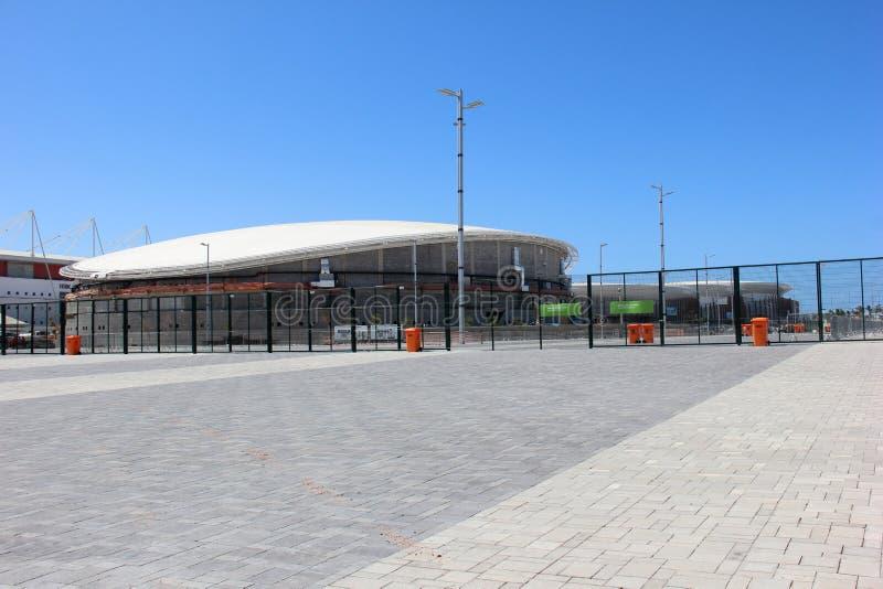 Fortschritt des Baus des Rio-Olympiaparks 2016 lizenzfreie stockbilder