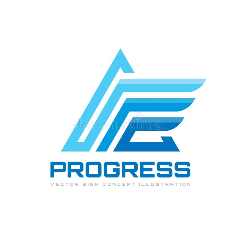 Fortschritt - Geschäftsvektor-Logoschablone Abstraktes Dreieckzeichen Stilisierte Pyramidenstruktur-Konzeptillustration stock abbildung