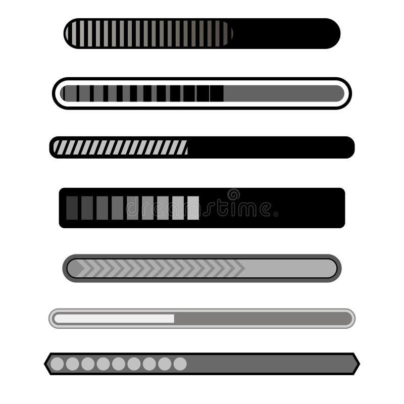 Fortschritts-Laden-Stange Grey Icons lizenzfreie abbildung