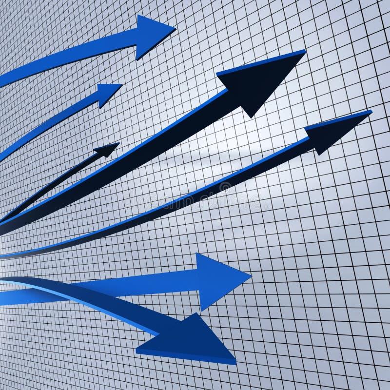 Fortschritts-Pfeil-Show-Geschäfts-Diagramm und Förderung stock abbildung