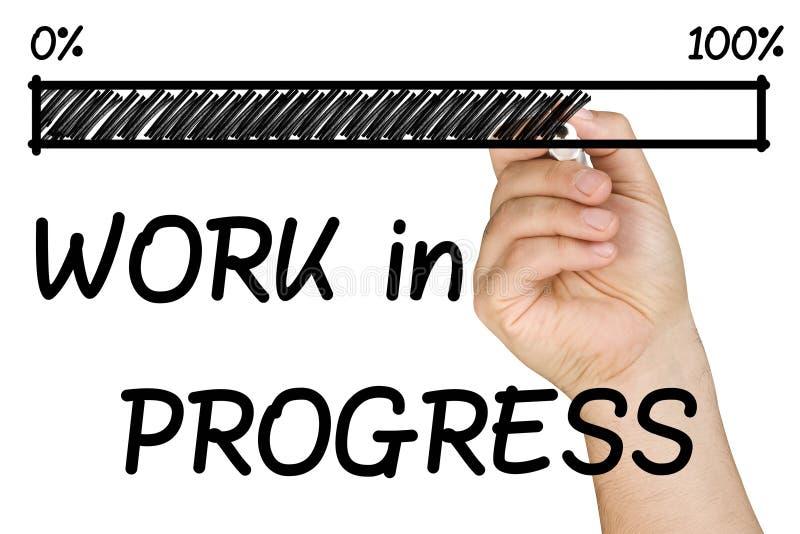 Fortschritts-Stangen-Arbeits-Handmarkierung lokalisiert lizenzfreie stockfotografie