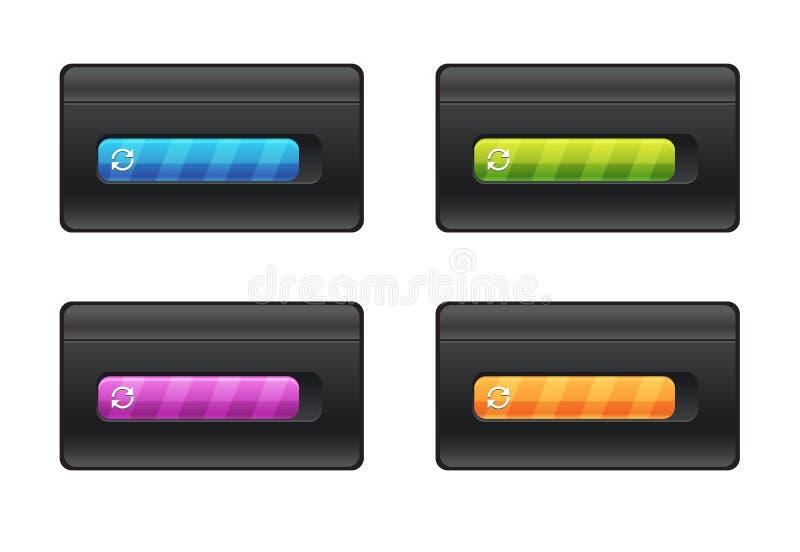 Fortskrida stången och att ladda olika färger på svart bakgrundsvektormapp stock illustrationer