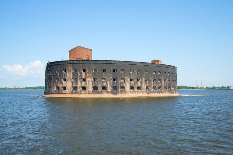 Fortu cesarz Aleksander Ja w zatoce Finlandia (dżuma) Kronstadt zdjęcie stock