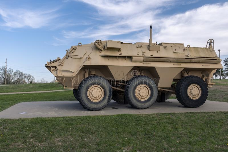 FORTU LEONARD drewno, MO-APRIL 29, 2018: Pojazd Wojskowy M93A1 FOX NBCRS zdjęcia royalty free