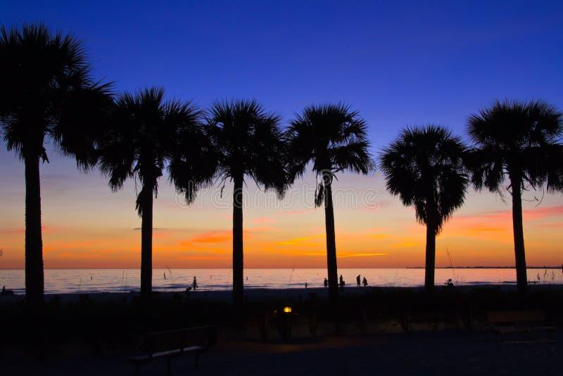 Fortu Myers plaża, zmierzch zdjęcia stock
