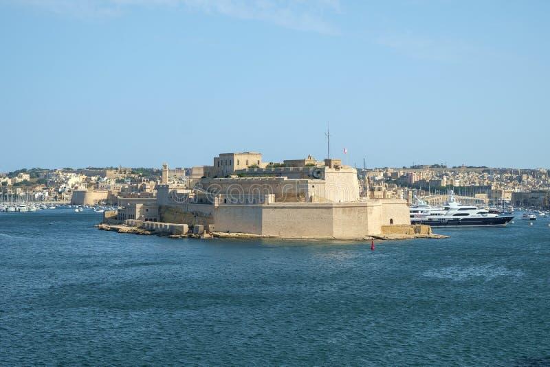Fortu St Angelo nad schronieniem zdjęcie stock