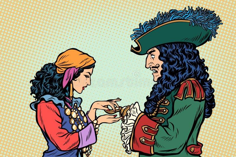 Fortuinteller en piraat met een haak vector illustratie