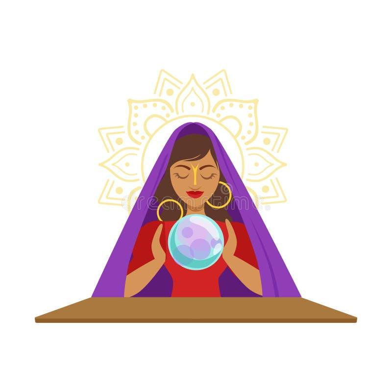 Fortuinteller het letten op kristallen bol, geheime rituele vectorillustratie stock illustratie