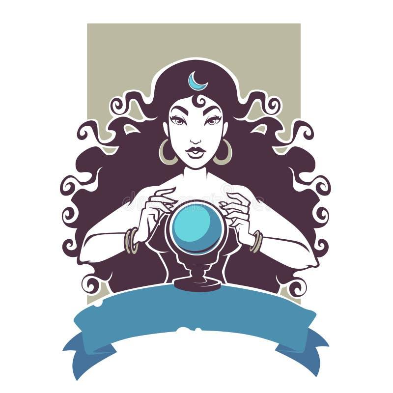 Fortuinteller, mooie de lezingstoekomst van het zigeunermeisje op kristal B royalty-vrije illustratie