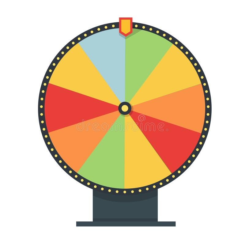 Fortuinwiel in vlakke stijl Leeg Malplaatje Spelgeld, het geluk van het winnaarspel Vector illustratie stock illustratie
