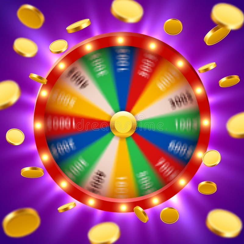 A fortuna 3d de giro realística roda com voo de moedas douradas Roleta afortunada ilustração stock