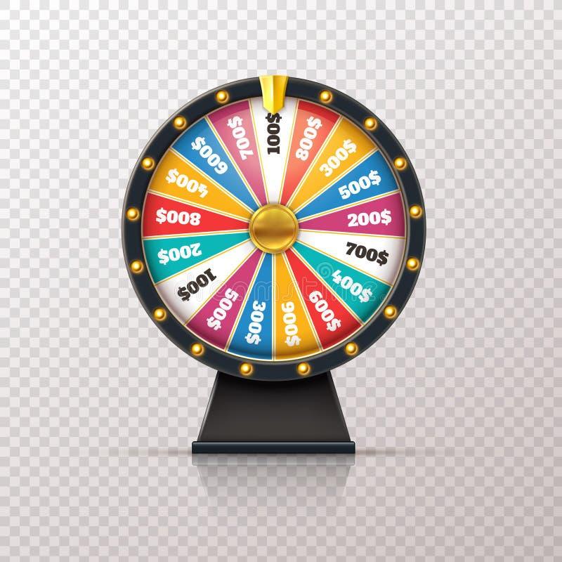 Fortuna della ruota Roulette fortunate del gioco del premio del casinò, cerchio di lotteria dei soldi di posta di vittoria Ruota illustrazione vettoriale