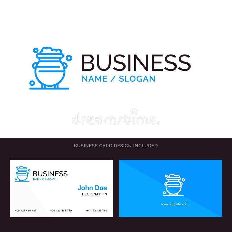 Fortuna, oro, suerte, metal, logotipo del negocio del dinero y plantilla azules de la tarjeta de visita Dise?o del frente y de la stock de ilustración