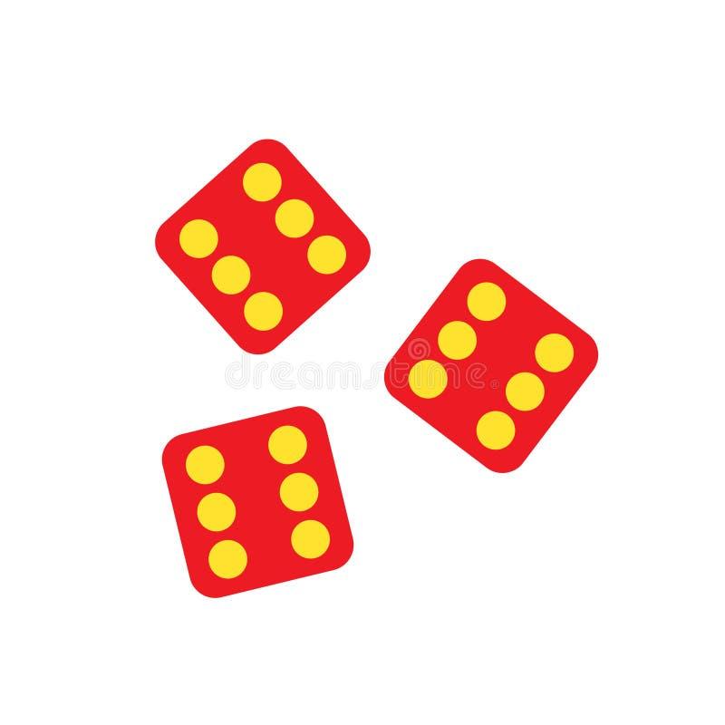 Fortunato taglia la posta a cubetti del gioco di gioco del casinò Icona piana di simbolo di colore su fondo bianco illustrazione vettoriale
