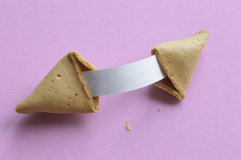 Fortune cookie with blank message royalty free stock photos