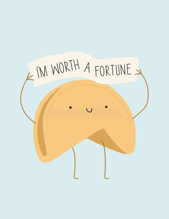 Fortune cookie. Illustration. Poster. I`m worth a fortune stock illustration