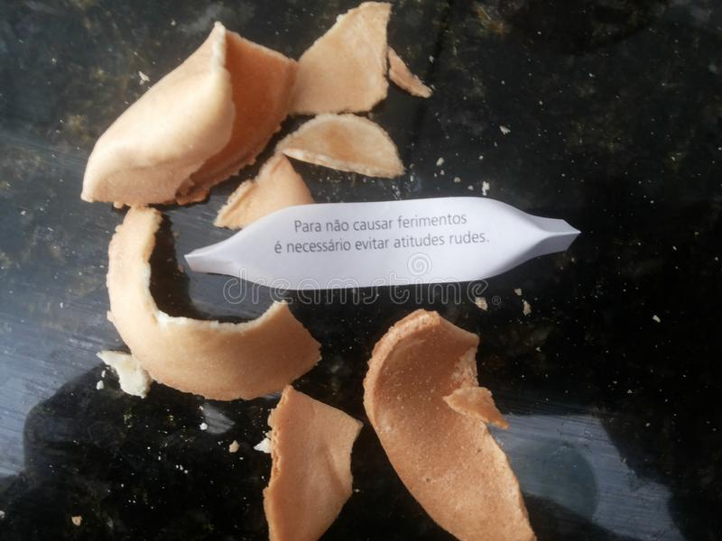 Fortune cookie. Message to your good week. stock image