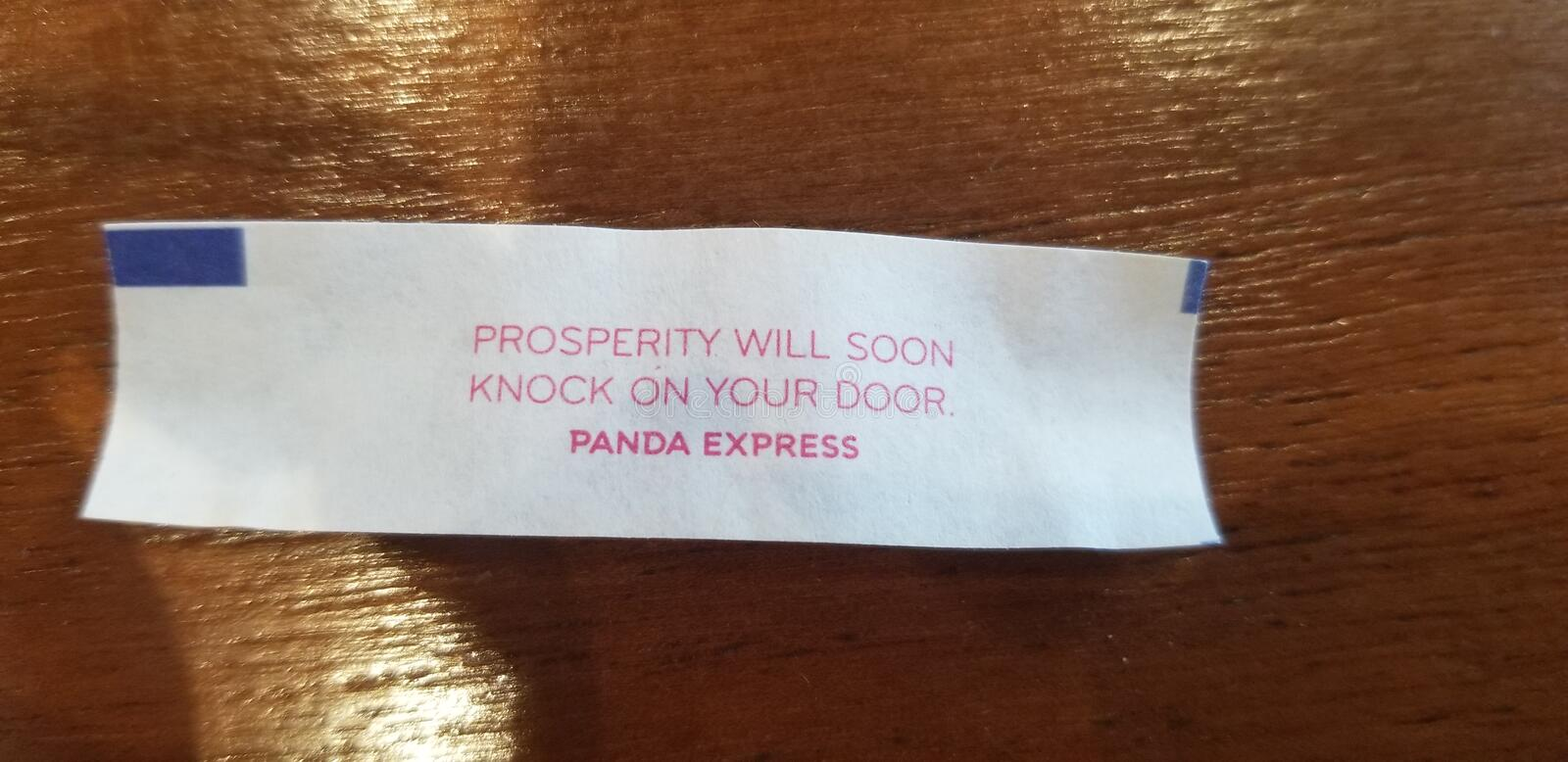 Fortune cookie prosperity will knock on your door royalty free stock image