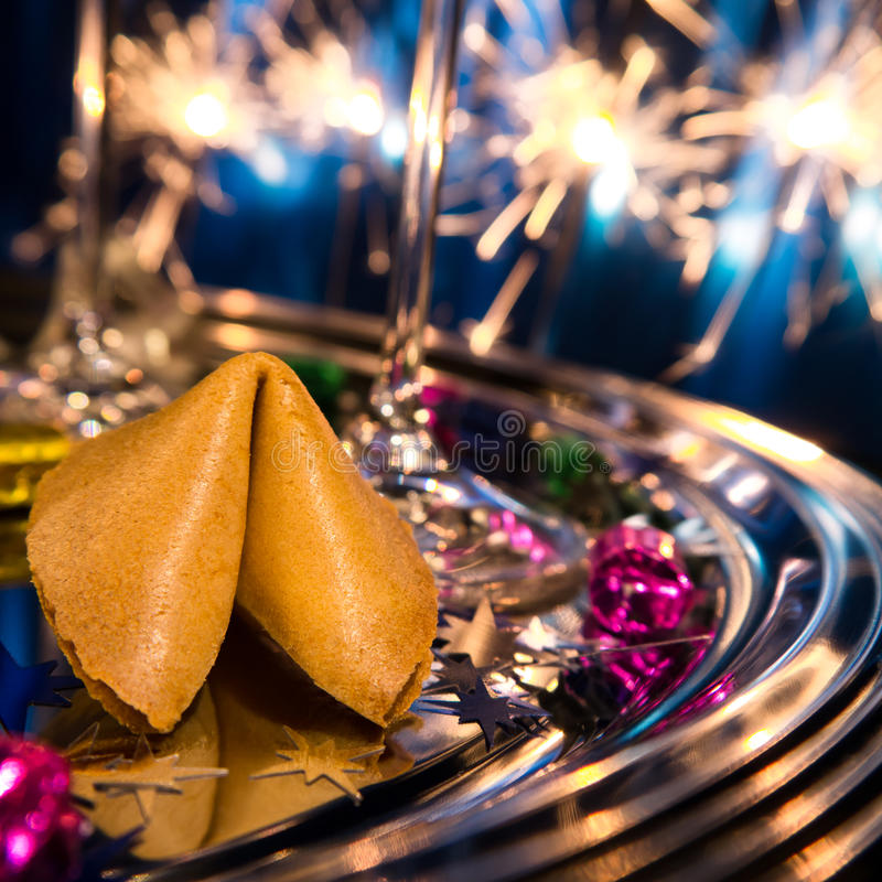 Fortune cookie on tray stock images