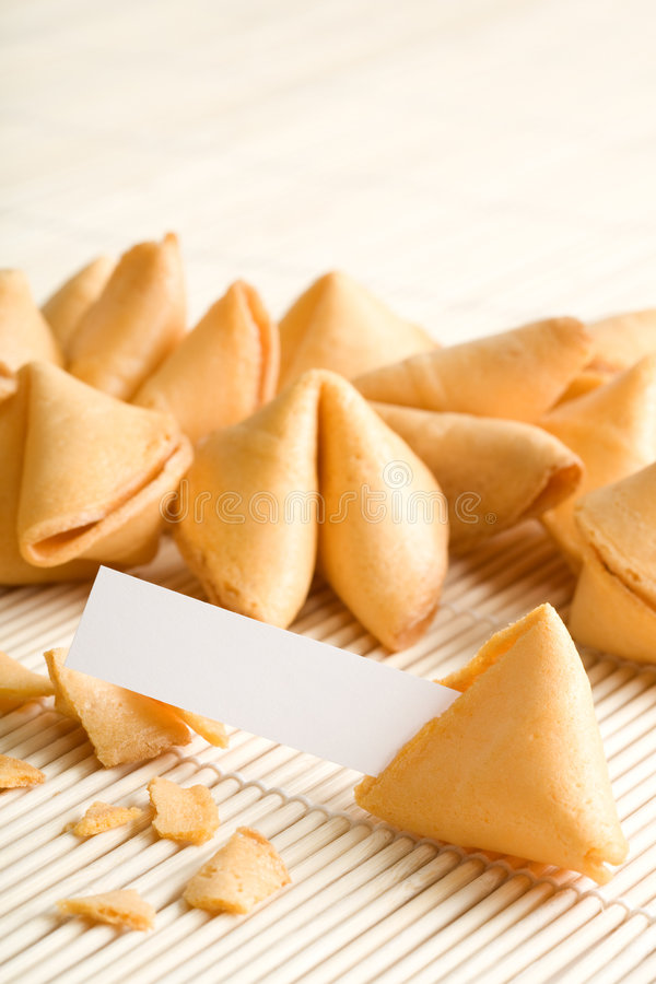 Fortune cookies with blank paper stock photography