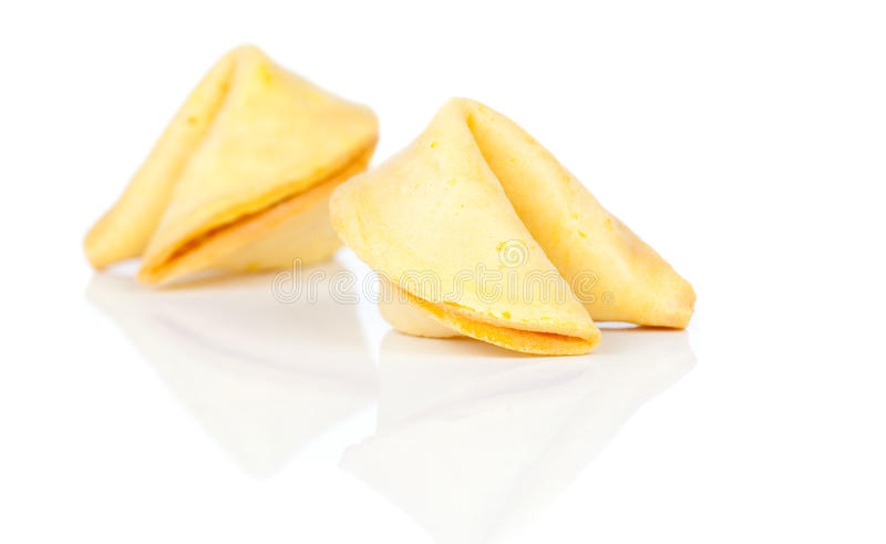 Fortune cookies. Isolated on white background stock photography
