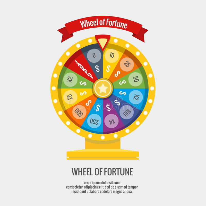 Fortune spinning wheel in flat vector style. Gambling concept vector illustration