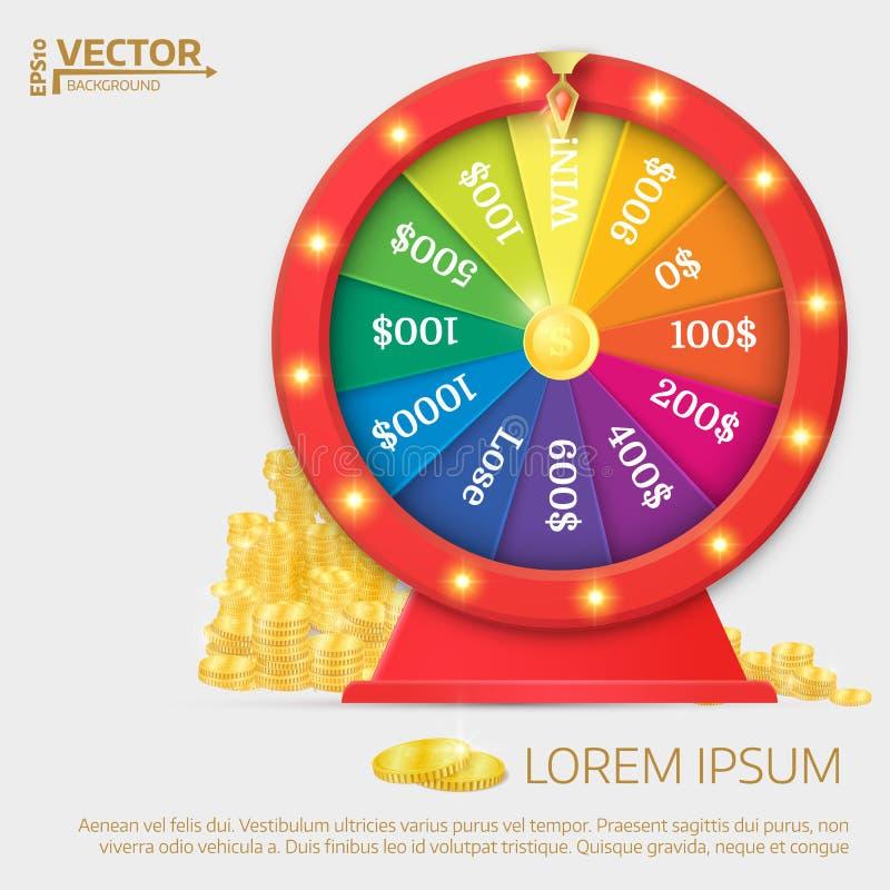 Fortune spinning wheel. Gambling concept, win jackpot in casino stock illustration