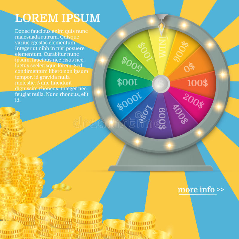 Fortune spinning wheel. Gambling concept, win jackpot in casino illustration royalty free illustration