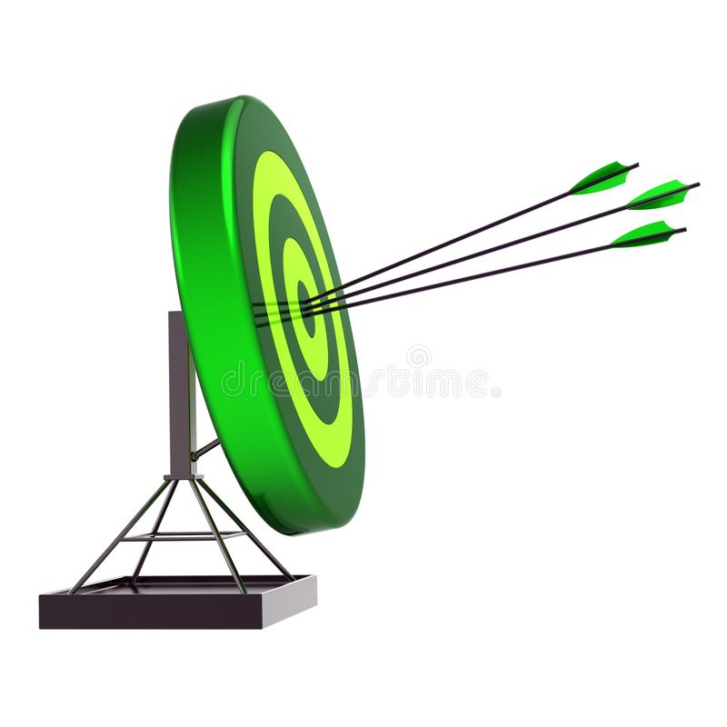 Fortune target three arrows, success archery shooting green icon royalty free illustration