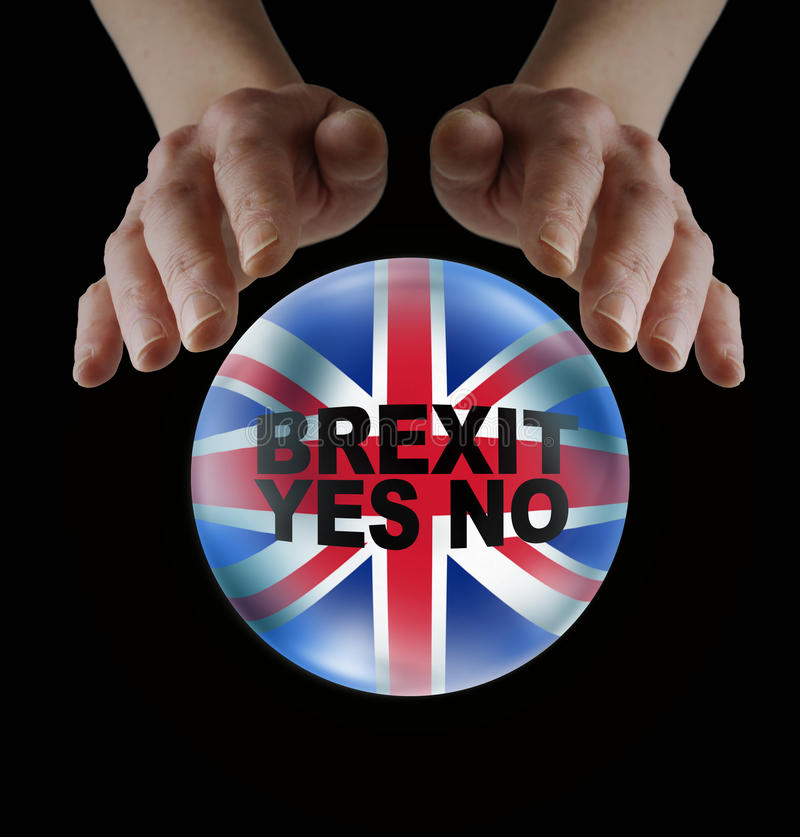 Fortune Teller with BREXIT Query in Crystal Ball. Female hands hovering over a crystal ball containing the Union Jack Flag and BREXIT YES NO words on a black stock images