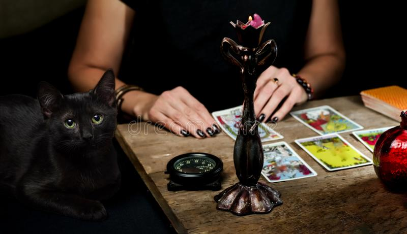 The fortune teller lays out on a wooden table the tarot cards by the light of a candle. Black cat sitting near the table. Selective focus stock photography