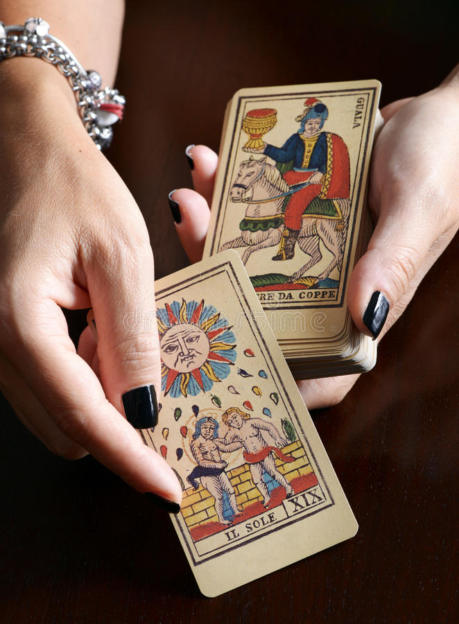 Completely new Fortune Teller Showing Vintage Tarot Cards Stock Image - Image of  MS61