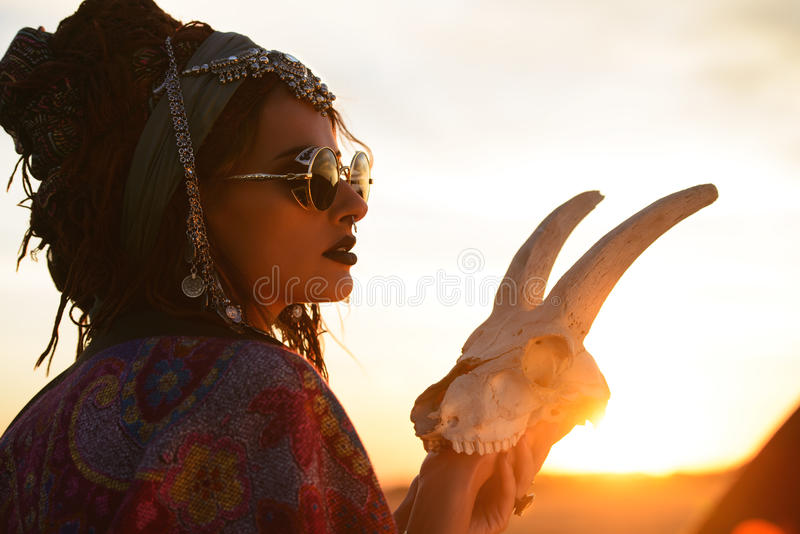 Fortune teller on sunset royalty free stock images