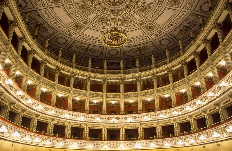 Fortune& x27 ; théâtre de s de la ville de Fano photographie stock libre de droits