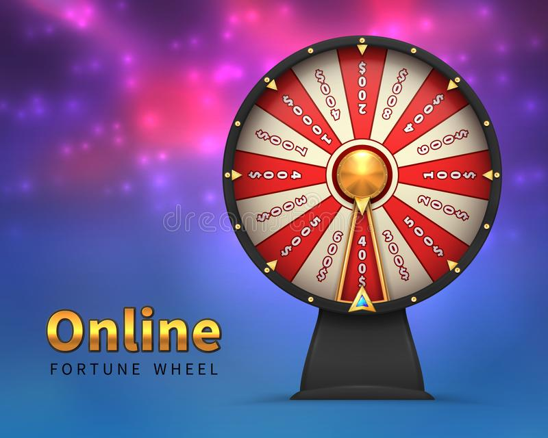 Fortune wheel background. Lucky money risk game. Spinning fortune wheels casino lottery gambling vector stock illustration