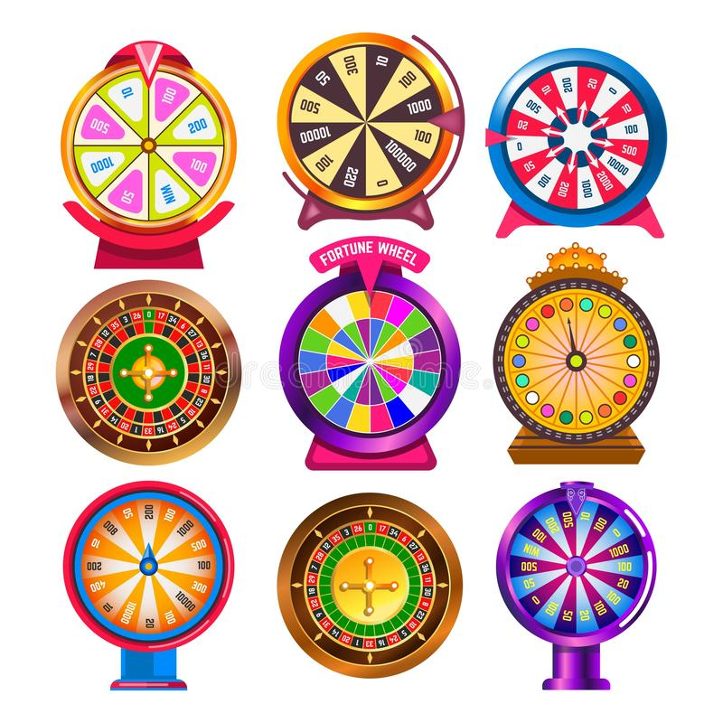Fortune wheel and casino roulette isolated round gambling items stock illustration