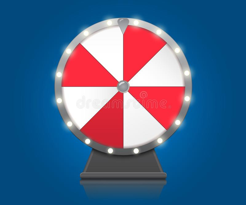 Fortune wheel. Lucky Wheel symbol on blue background with bulbs electric vector illustration