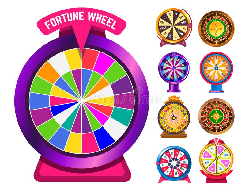Fortune wheel gambling and casino roulette isolated objects. Gambling fortune wheel and casino roulette isolated round objects vector score win easy earning royalty free illustration