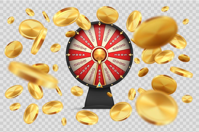 Fortune wheel with gold coins. Lucky roulette on transparent background. Vector 3D realistic image spinning casino stock illustration