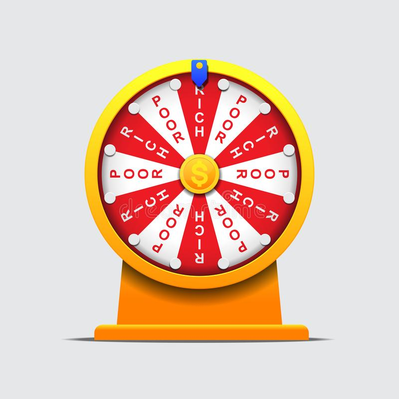 Fortune wheel rich and poor,money game. Concept vector illustration stock illustration