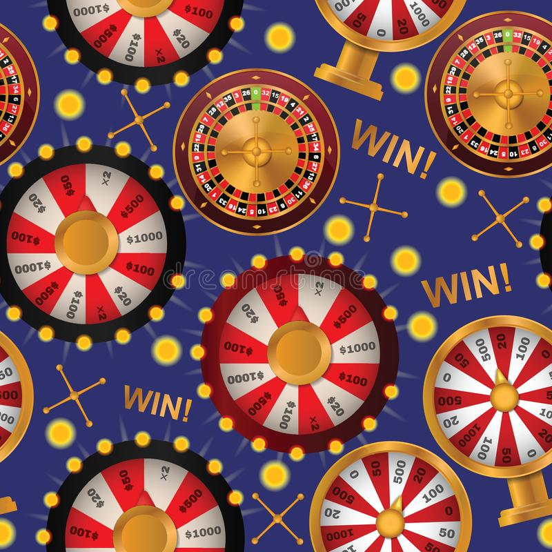 Fortune wheel seamless pattern vector spin game casino roulette with arrow lucky winner backdrop fortunate wheeled. Lottery bet illustration background royalty free illustration