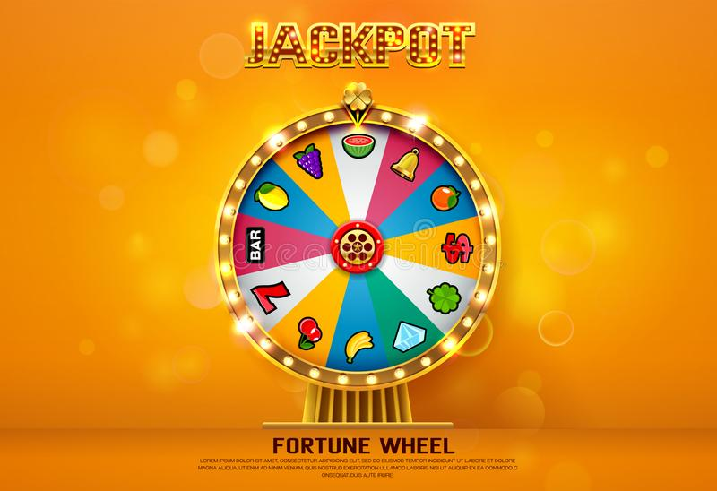 Fortune wheel spinning on bokeh background. Vector illustration royalty free illustration