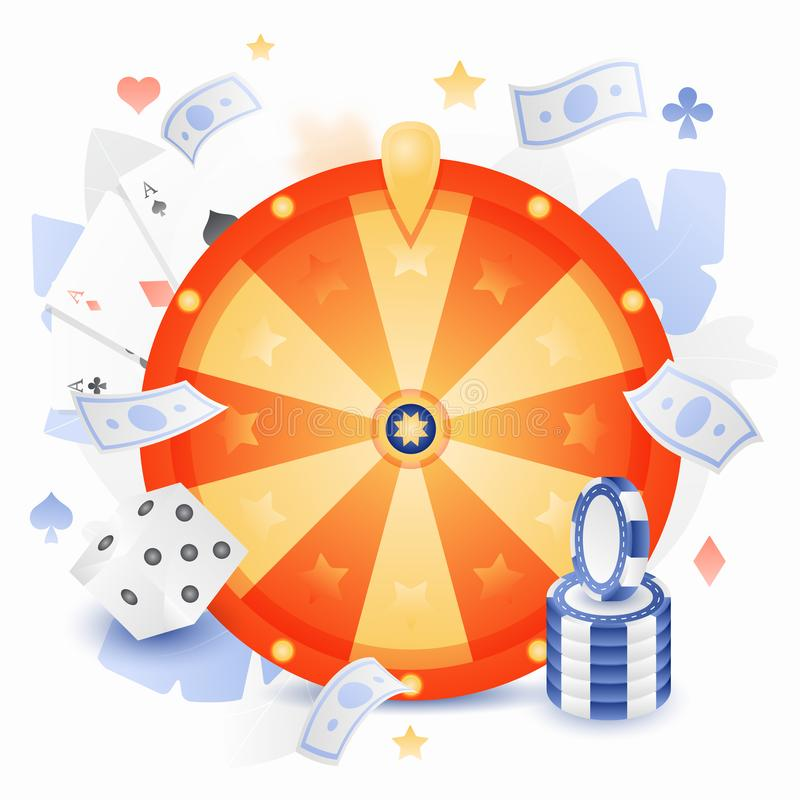 Fortune Wheel Vector. Vector illustration of a fortune wheel with chips, playing cards and dice. Gaming and gambling concept vector illustration