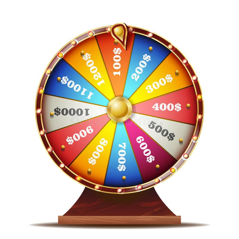 Fortune Wheel Vector. Realistic 3d Object. Casino Game Of Chance. Isolated Illustration stock illustration