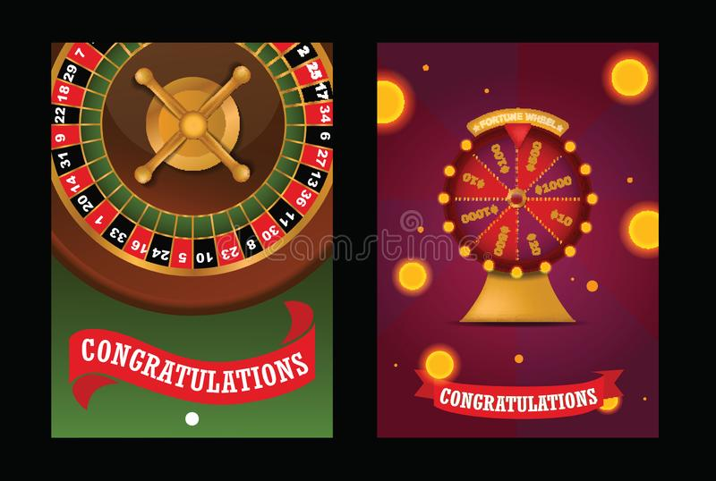 Fortune wheel vector spin game casino roulette with arrow congratulation for lucky winner backdrop fortunate wheeled. Lottery bet set illustration background royalty free illustration