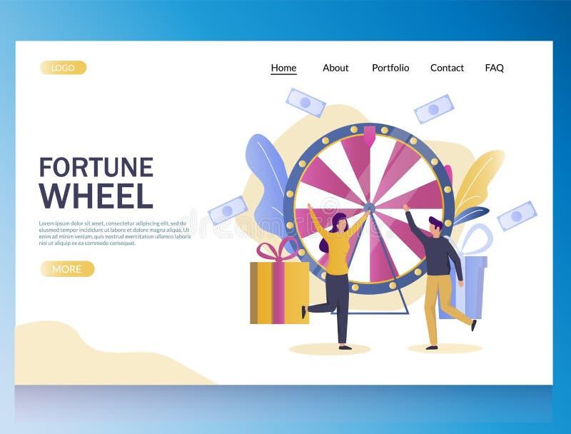 Fortune wheel vector website landing page design template vector illustration