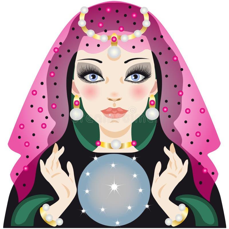 Fortunetell avec la boule christal illustration de vecteur