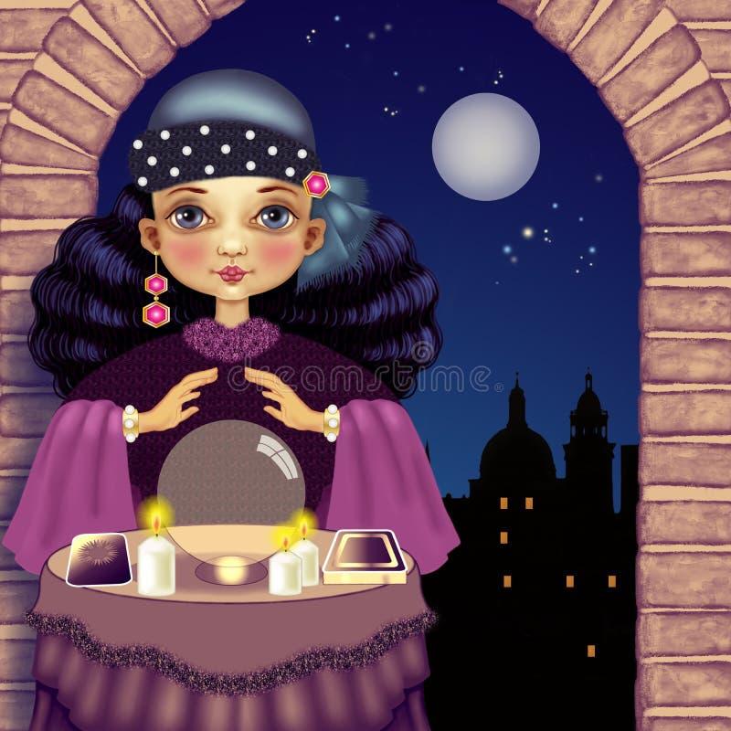 Fortuneteller τή νύχτα ελεύθερη απεικόνιση δικαιώματος
