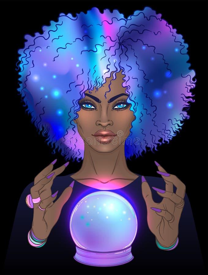 Fortuneteller com esfera de cristal Ilustração bonito assustador do vetor ilustração do vetor